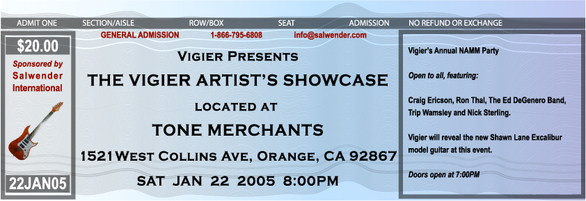 Vigier Artist Showcase Ticket NAMM
