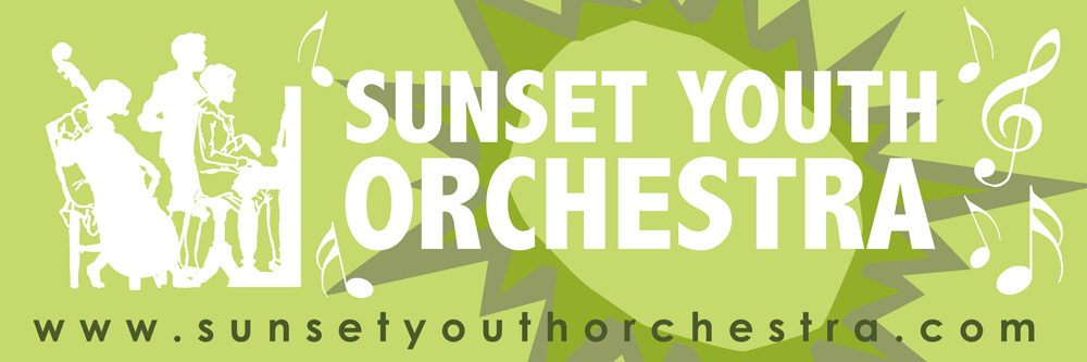 Sunset Youth Orchestra Bumper Sticker Design, Graziela Camacho, Visual Media Communications Designer